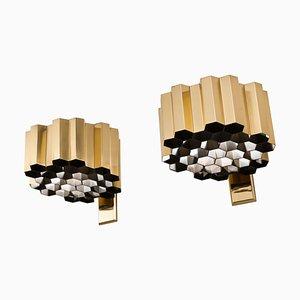 Apliques de pared Honeycomb de latón de Jules Wabbes. Juego de 2