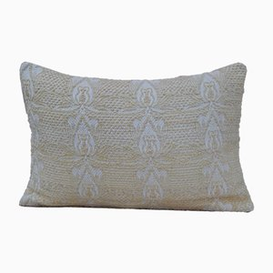 Turkish Handmade Lumbar White Kilim Throw Pillow from Vintage Pillow Store Contemporary
