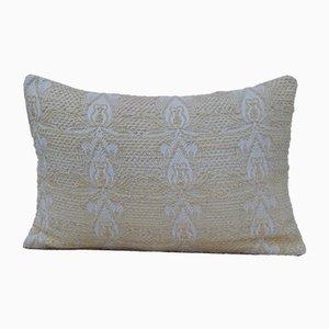 Turkish Handmade Lumbar White Kilim Throw Pillow from Vintage Pillow Store Contemporary