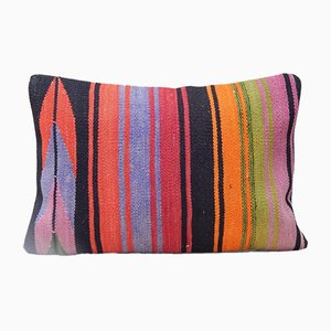 Turkish Handmade Rainbow Striped Kilim Pillow Case from Vintage Pillow Store Contemporary