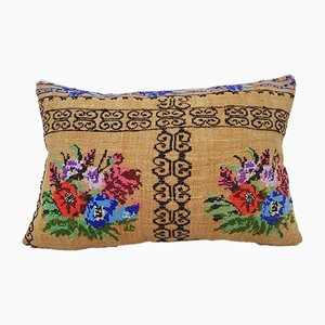 French Needlepoint Kilim Lumbar Pillow Cover from Vintage Pillow Store Contemporary
