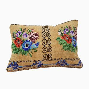 Needlepoint Tapestry Aubusson Woven Kilim Pillow Cover from Vintage Pillow Store Contemporary
