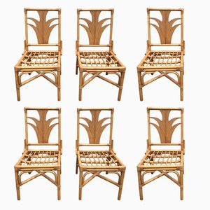 Bamboo Chairs, 1970s, Set of 6