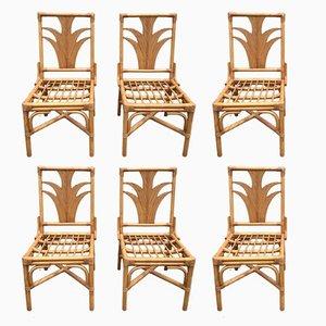 Sedie in bambù, anni '70, set di 6