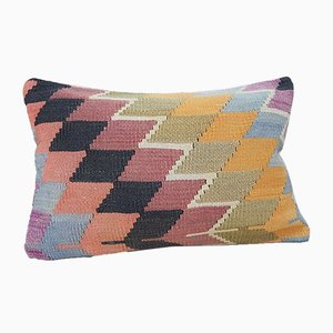 Faded Orange & Green Diamond Pattern Kilim Pillow Cover from Vintage Pillow Store Contemporary