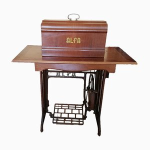 Sewing Machine with Wooden Table from Alfa, 1960s