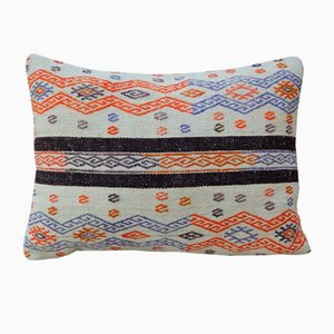 Handmade Orange Kilim Lumbar Pillow Cover from Vintage Pillow Store Contemporary