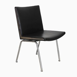 AP-40 Black Leather Airport Chair by Hans J. Wegner for A.P. Stolen, 1960s