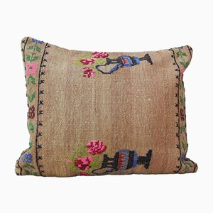 Pink Aubusson Kilim Cushion Cover from Vintage Pillow Store Contemporary