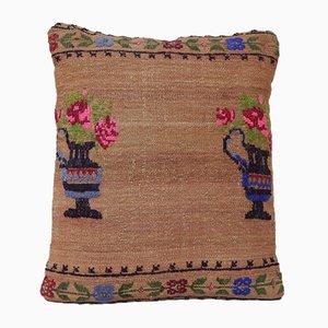 Funda de cojín hecha con kilim de lana con punto de cruz de Vintage Pillow Store Contemporary