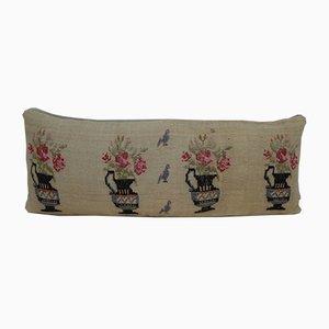 Handgewebter Aubusson Kelim Kissenbezug mit Gobelinstickerei von Vintage Pillow Store Contemporary