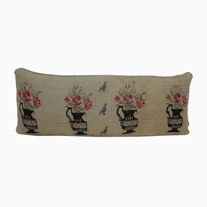 Handwoven Needlepoint Tapestry Aubusson Kilim Pillow Cover from Vintage Pillow Store Contemporary