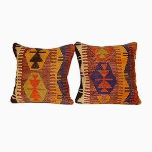 Fundas para almohadas hechas con kilim multicolor tejido a mano de Vintage Pillow Store Contemporary. Juego de 2