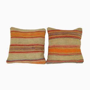 Gestreifte türkische Kelim Wollkissen in Orange von Vintage Pillow Store Contemporary, 2er Set