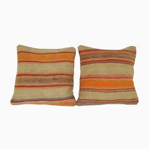 Housses de Coussin Kilim en Laine Orange Rayée de Vintage Pillow Store Contemporary, Set de 2