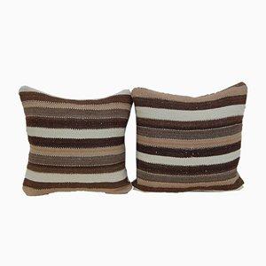 Fundas para almohadas turcas hechas con kilim de lana de Vintage Pillow Store Contemporary. Juego de 2