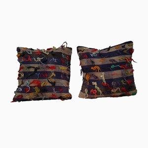Türkise Kissenbezüge mit Zotteln von Vintage Pillow Store Contemporary, 2er Set