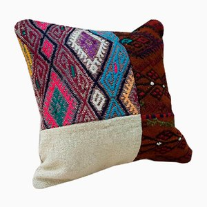 Turkish Handwoven Patchwork Kilim Pillow Cover from Vintage Pillow Store Contemporary