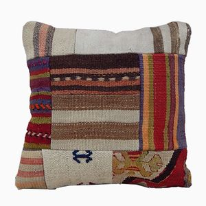 Square Wool Patchwork Kilim Pillow Cover from Vintage Pillow Store Contemporary
