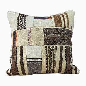 Large Wool Handmade Patchwork Kilim Pillow Cover from Vintage Pillow Store Contemporary