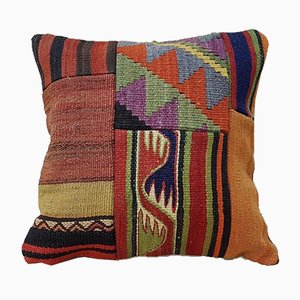 Large Handwoven Kilim Cushion Cover with Patchwork from Vintage Pillow Store Contemporary