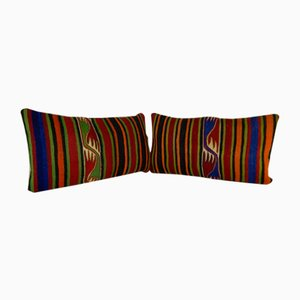 Bohemian Handwoven Lumbar Kilim Pillow Covers from Vintage Pillow Store Contemporary, Set of 2