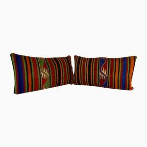 Handgewebte lumbale Bohemian Kelim Kissenbezüge von Vintage Pillow Store Contemporary, 2er Set