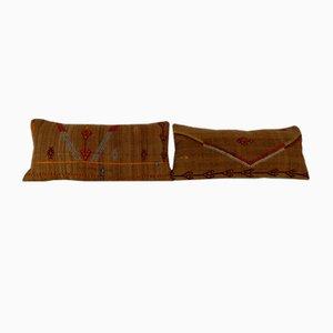 Fundas de cojín alargadas bohemias hechas con kilim de pelo de camello de Vintage Pillow Store Contemporary. Juego de 2