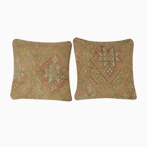 Fundas de cojín hechas con kilim tejido a mano claro de Vintage Pillow Store Contemporary. Juego de 2