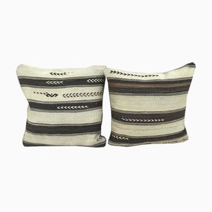 African Mudcloth Kilim Pillow Covers from Vintage Pillow Store Contemporary, Set of 2