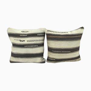 Fundas para almohadas hechas con kilim africano bogolan de Vintage Pillow Store Contemporary. Juego de 2