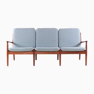 Sofá de tres plazas de teca y tela de Svend Aage Eriksen para Glostrup, años 60