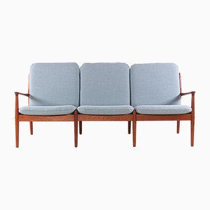 Teak & Fabric 3-Seater Sofa by Svend Aage Eriksen for Glostrup, 1960s