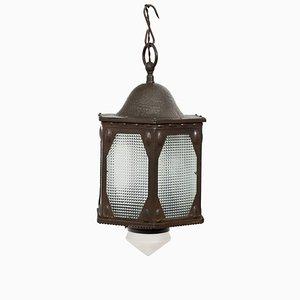 Lámpara colgante industrial antigua de cobre