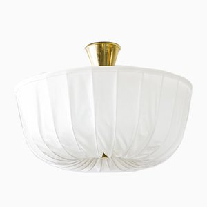 Swedish Brass, Fabric & Opaline Glass Ceiling Lamp, 1940s