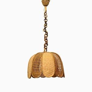 Deckenlampe aus Rattangeflecht, 1970er