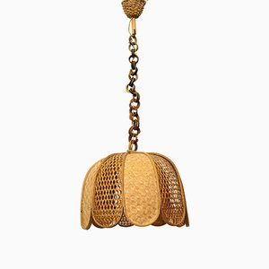 Rattan & Wicker Ceiling Lamp, 1970s