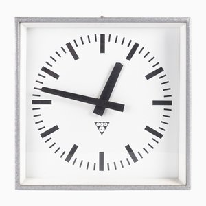 Industrial Iron & Glass Clock from Pragotron, 1970s