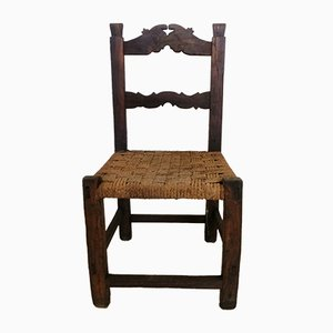 Antique Beech Side Chair with Woven Seat