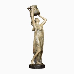 Antique Art Nouveau Water Carrier Sculpture from Friedrich Goldscheider