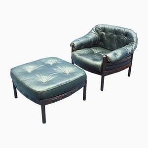 Leather & Mahogany Lounge Chair & Ottoman by Arne Norell for Coja, 1968