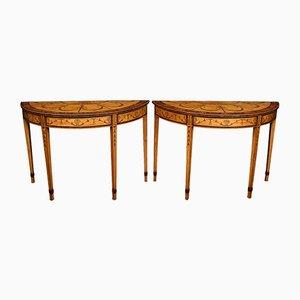 Antike Konsolentische aus Seidenholz im neoklassizistischen Stil, 5er Set