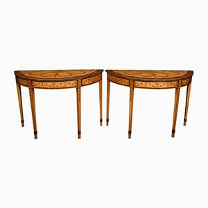 Antique Neoclassical Style Satinwood Console Tables, Set of 2