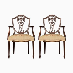 Antique Mahogany Armchairs by George Hepplewhite, Set of 2
