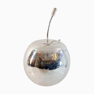 Cubitera italiana en forma de manzana de plástico y cromo, años 60