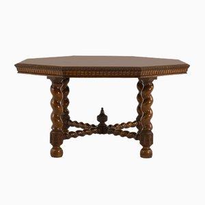 Mesa de comedor inglesa antigua octogonal de roble