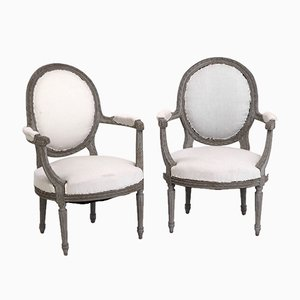 Antique Gustavian Carved Wood Armchairs, Set of 2