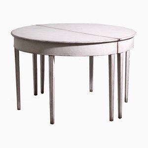 Tavolo da pranzo antico gustaviano allungabile in legno