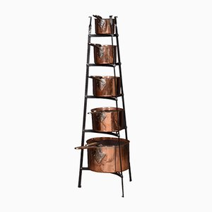 Antike Kupfertöpfe, 5er Set