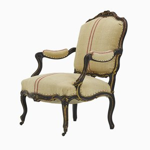 Large Antique French Upholstered & Ebonized Wood Armchair